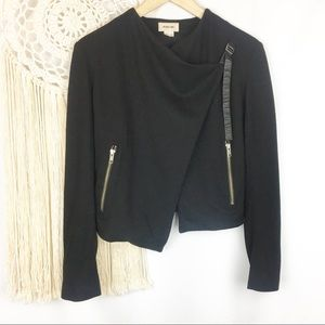 HELMUT LANG Black Sonar Wool Drape Front Jacket XS